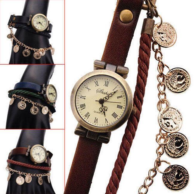 Retro hodinky s ozdobným řetízkem - 3 barevné varianty 1