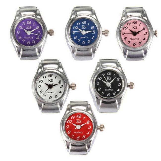 Pierścionkowy zegarek z kolorową tarczą - oferujemy 6 koorów 1