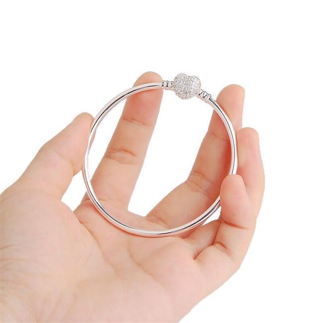 Pevný náramek se srdcem - 55 mm 1