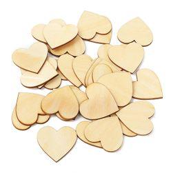 Дървена декорация - сърца - 50 бр