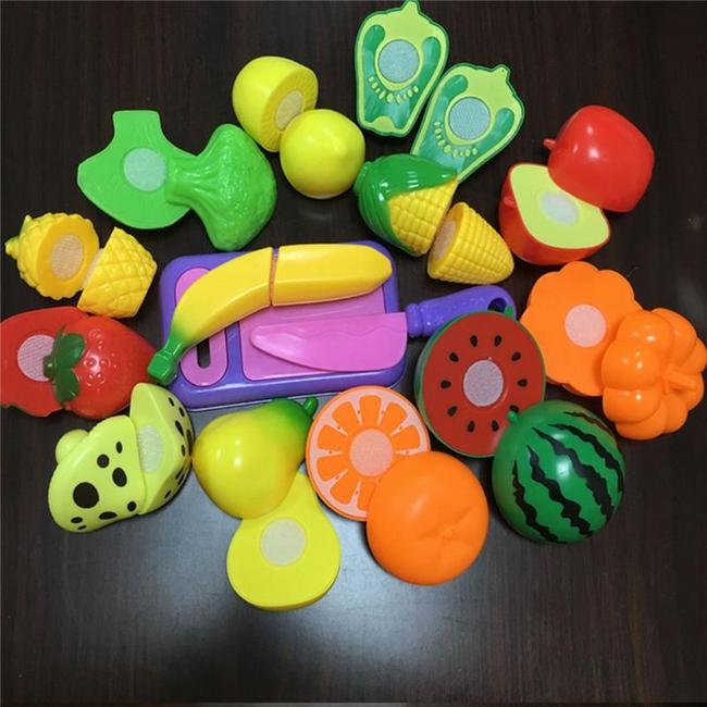 Gyerek műanyag gyümölcs- és zöldségkészlet - 9 db 1