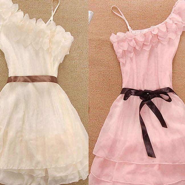Elegantní šifonové šaty na jedno rameno - 2 barvy 1