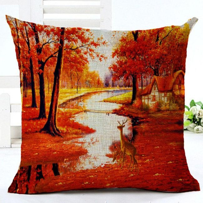 Față de pernă cu motiv pădure colorată 1