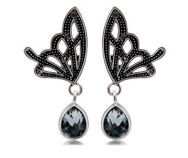 Náušnice ve tvaru motýlích křídel s kamínkem - černé 1