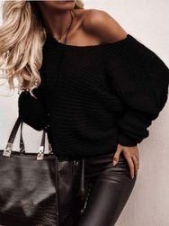 Dámský volný svetr - černý