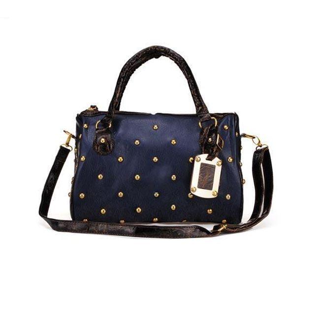 Dámská tmavě modrá kabelka s kovovou dekorací 1