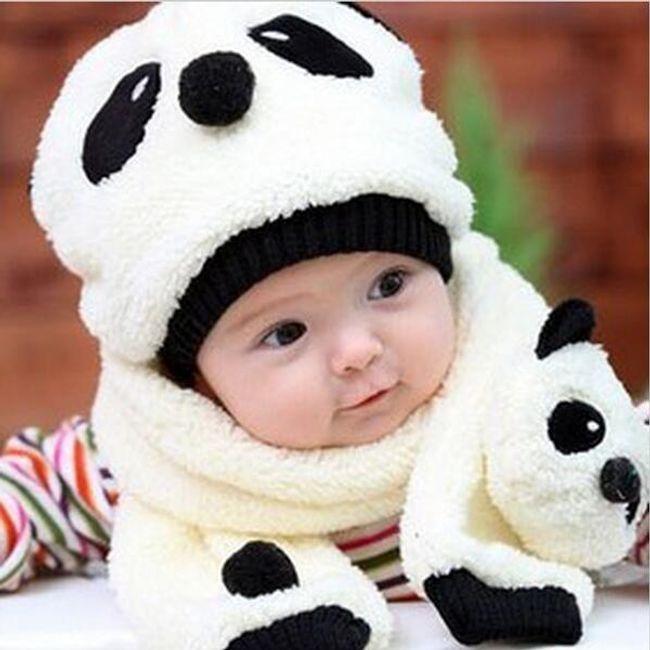 Dziecięca czapeczka i szalik z motywem pandy - oferujemy 5 kolorów 1