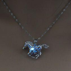 Колье с конём, светящимся в темноте - голубой