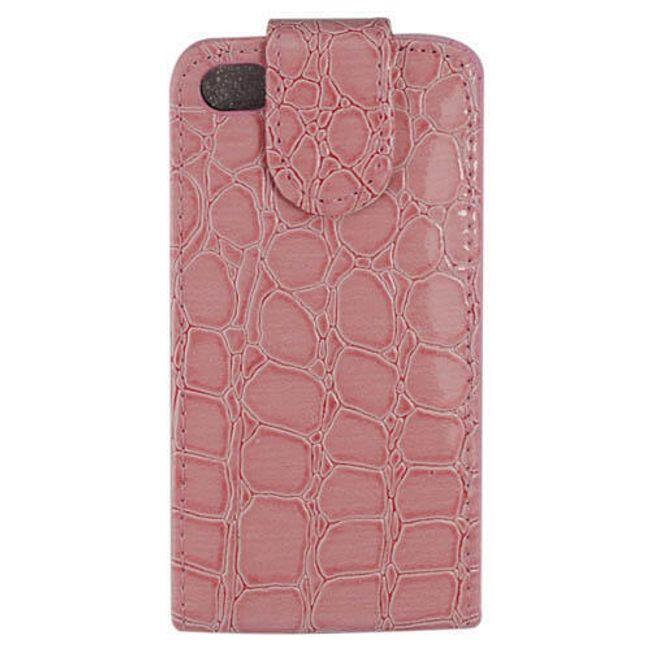 Koženkové designové ochranné pouzdro na iPhone 4 a 4S - růžový krokodýl 1