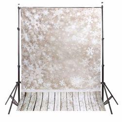 Tło fotograficzne 2,1 x 1,5 m - Ściana z płatkami śniegu i drewniana podłoga