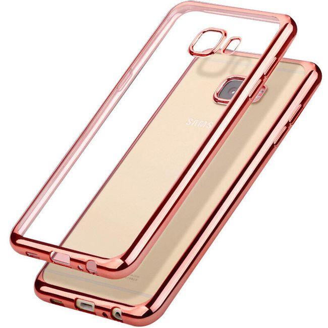 Transparentní pouzdro s barevným lemem pro Samsung Galaxy - růžová, j5 prime 1