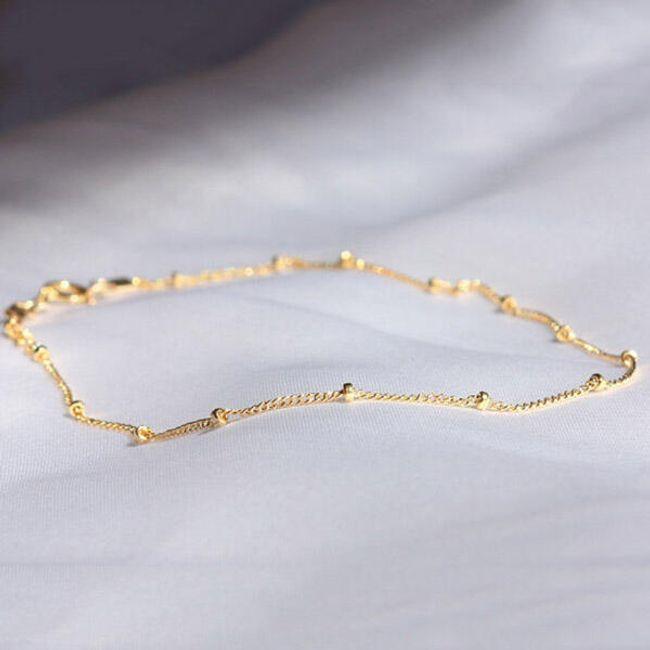 Dámský drobný kotníkový řetízek - zlatá barva  1