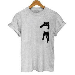 Koszulka damska z kotem - 4 kolory
