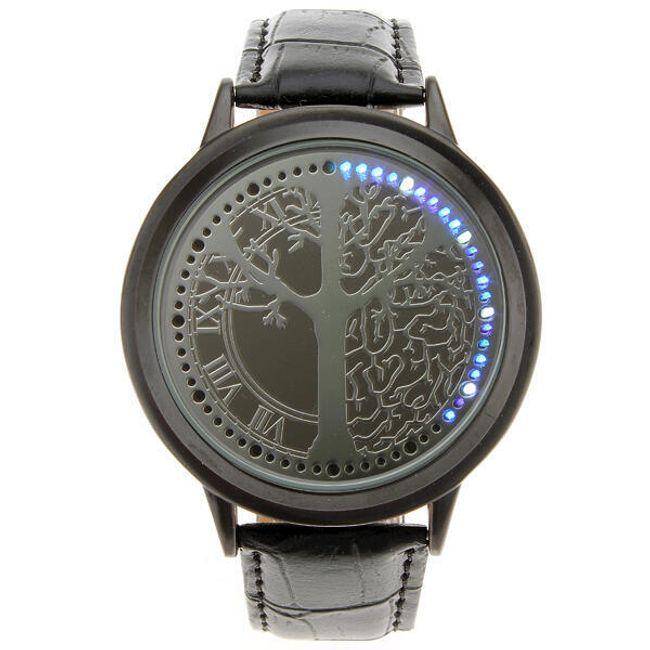 LED hodinky s modrými LED diodami - černé 1