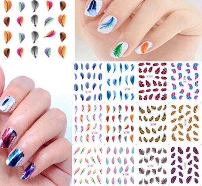 Naljepnice za nokte - šareno perje 1