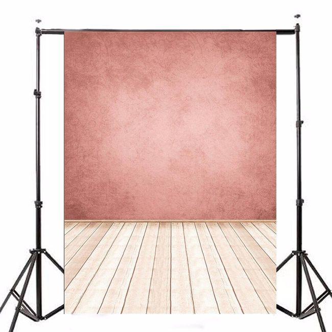 Ateliérové fotopozadí - Zeď ve starorůžové barvě a světlá dřevěná podlaha 1