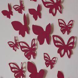 3D motýl - vínový - 2 kompletní sety (16 ks motýlů) Set SR_1019999