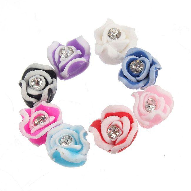 Keramické růžičky na nehty ve třech barvách - balení 30 kusů 1
