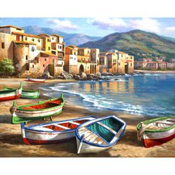 DIY картина по номерам- Лодки на берегу