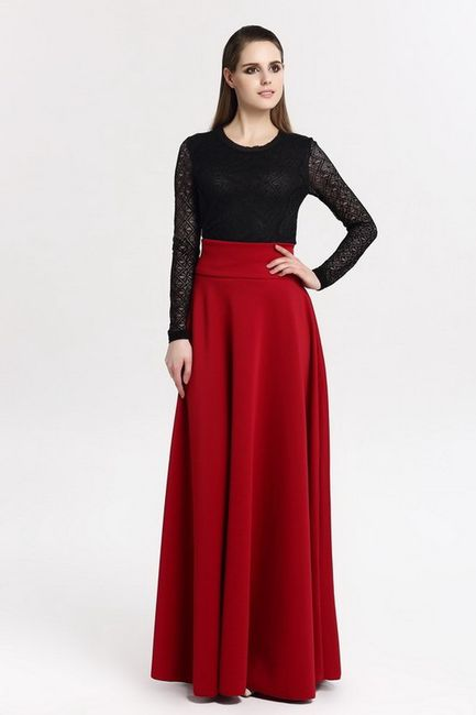 Maxi sukně v elegantním provedení - červená-9 1