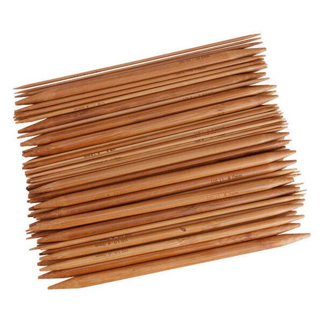 Dwustronne bambusowe druty do dziergania - komplet 75 sztuk 15 wielkości 1