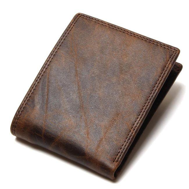 Pánská peněženka z PU kůže s transparentním kapsičkou - hnědá barva 1