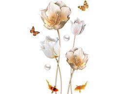 Samolepka na zeď ve 3D - velké květiny