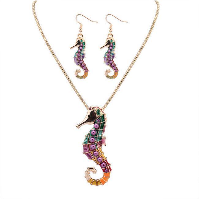 Set šperků s mořským koníkem ve zlaté nebo stříbrné barvě 1