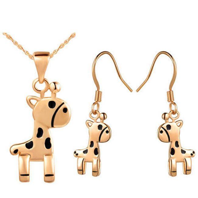 Komplet oryginalnej biżuterii w kształcie żyrafy - wisiorek i kolczyki 1