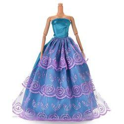 Suknia ślubna dla lalki w kolorze niebieskim