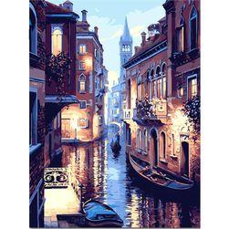 Keret nélküli, befejezetlen festmény 40 x 50 cm - velencei utca