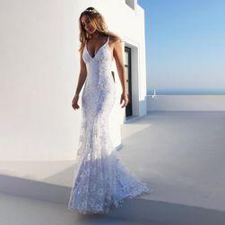 Bela čipkasta haljina sa otvorom na leđima