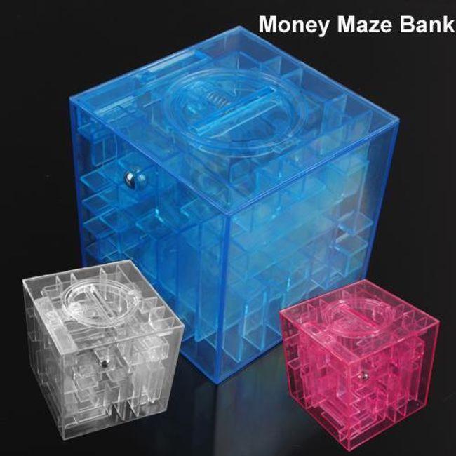 Labyrint na mince a bankovky - originální kasička s hlavolamem 1