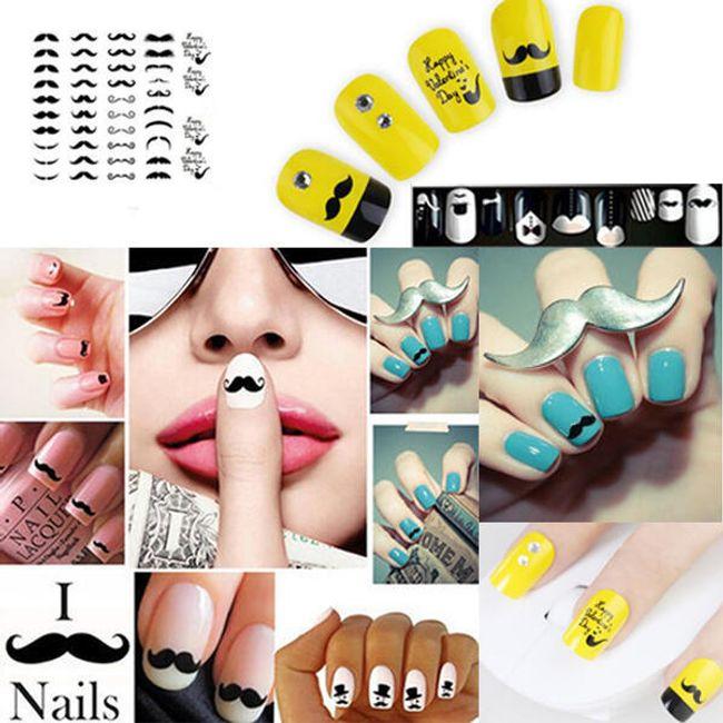 Dekoracje na paznokcie z wąsem - 20 rodzajów 1