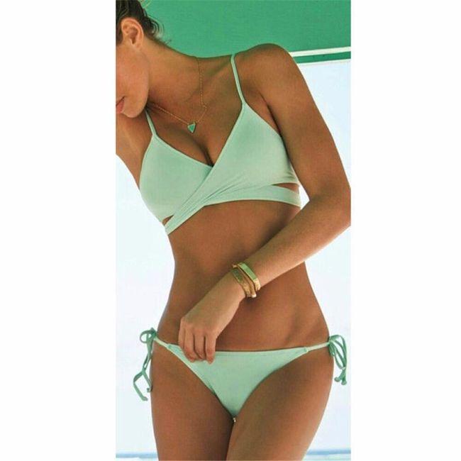 Bikini se zkříženým vrškem - Zelená - velikost 3 1