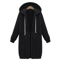 Dlhá mikina na zips s kapucňou - 4 farby Čierna-veľkosť č. 6
