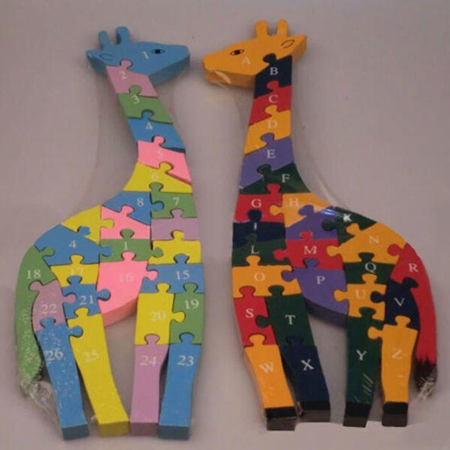 Dětské dřevěné puzzle ve tvaru žirafy 1
