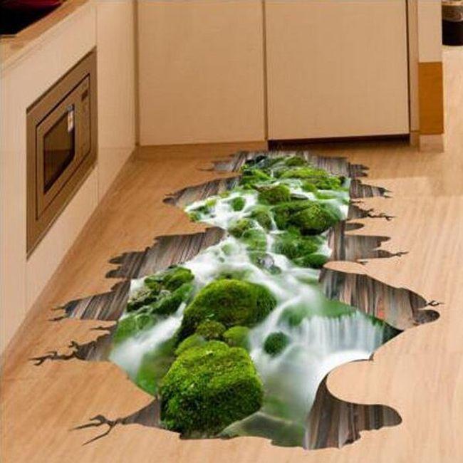 3D напольная наклейка - Река с мхом 1