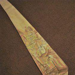 Hedvábná ručně malovaná kravata Uličky v akvarelu