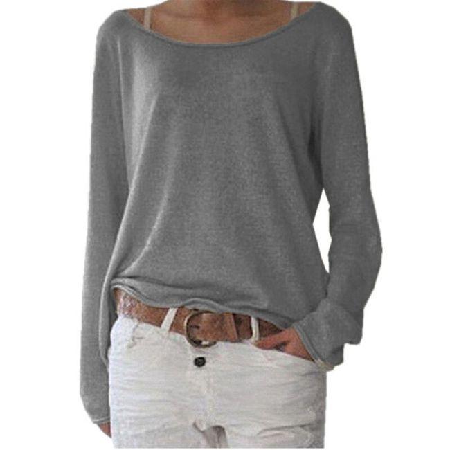 Dámské ležérní triko s dlouhým rukávem - Šedá, velikost 2 1