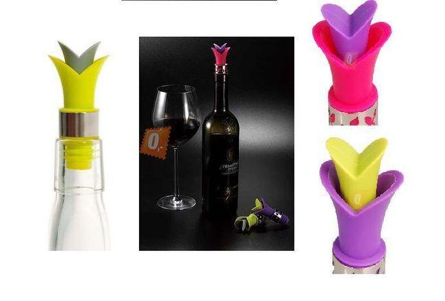 Silikonové zátky na lahve od vína - na výběr ze tří barev 1