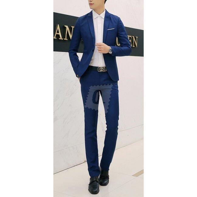 Pánský společenský oblek - Námořní modř Modrá-velikost č. 4 1