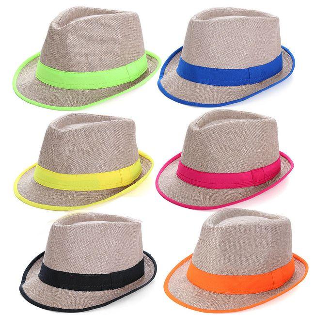 Соломенная шляпа с цветной каймой  1