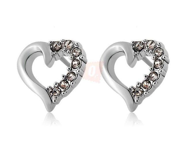 Eleganckie kolczyki w kształcie serca ozdobione kamyczkami 1