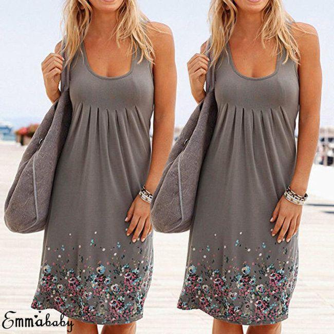 Letní šaty s drobnými květy - Šedá-velikost č. 4 1