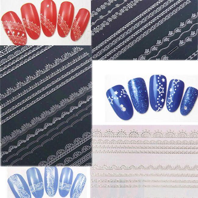 Naklejane koronkowe ozdoby na paznokcie - opakowanie zawiera 4 arkusze 1