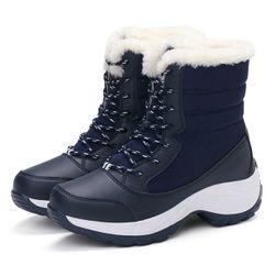 Dámske zateplené topánky s umelým kožúškom - 4 varianty Modrá-6