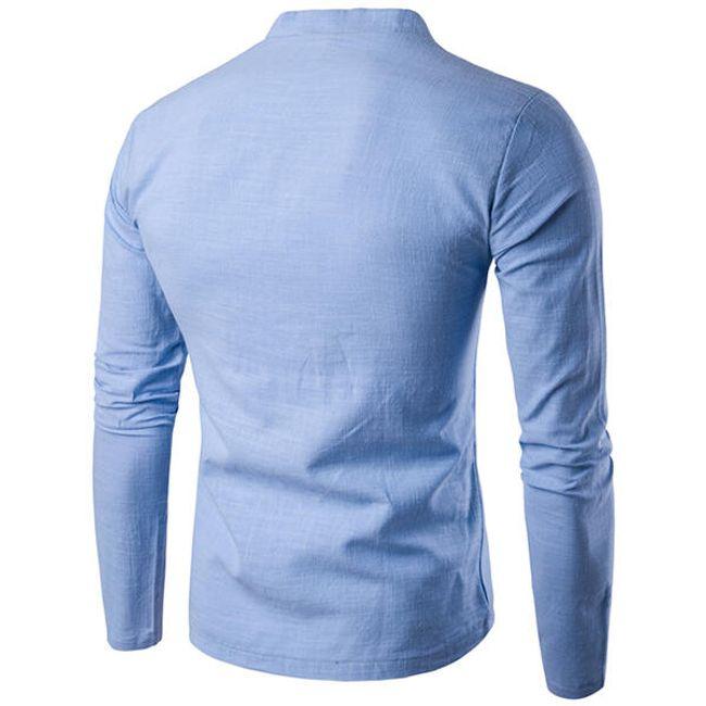 Férfi alkalmi vászon póló - 5 színben