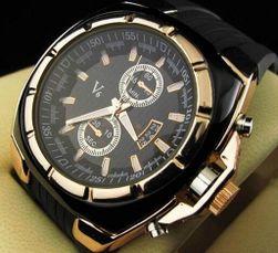 Ceas elegant pentru bărbați - culoarea negru auriu