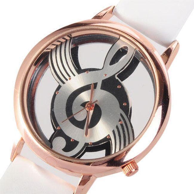 Analogowy zegarek - tarcza  w kształcie klucza wiolinowego, 2 kolory 1